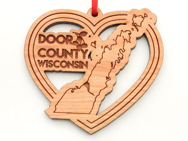 Door County Wisconsin Heart Ornament