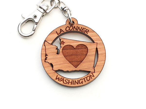 Reclamation Candle Co Washington State Heart Key Chain
