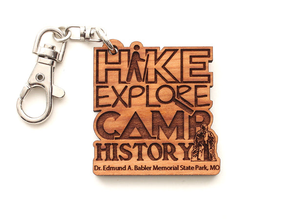 Hike Explore Camp History Babler State Park Key Chain