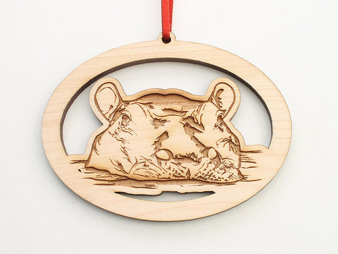 Hippopotamus Oval Ornament - Nestled Pines