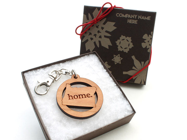 Custom Engraved Oregon State Key Chain Gift Box Alt - Nestled Pines