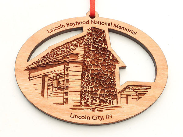 Lincoln Boyhood National Monument House Custom Oval Ornament