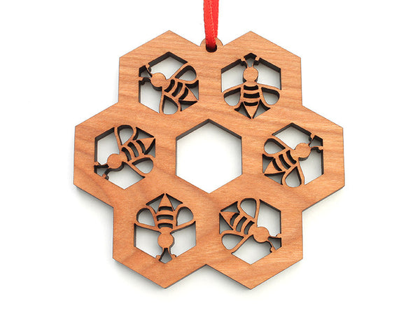 Honey Bee Honeycomb Snowflake Tessellation Ornament - Nestled Pines