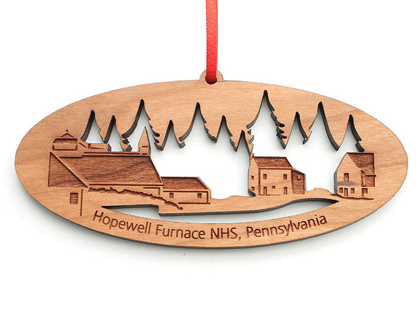 Hopewell Furnace NHS Custom Panaramic Ornament - Nestled Pines