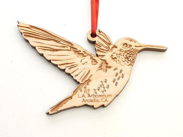 L. A. Arboretum Hummingbird Custom Engraved Ornament - Nestled Pines