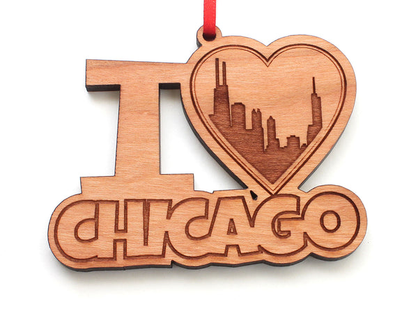 I Heart Chicago City Skyline Heart Ornament