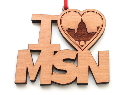 I Heart MSN City Skyline Text Ornament