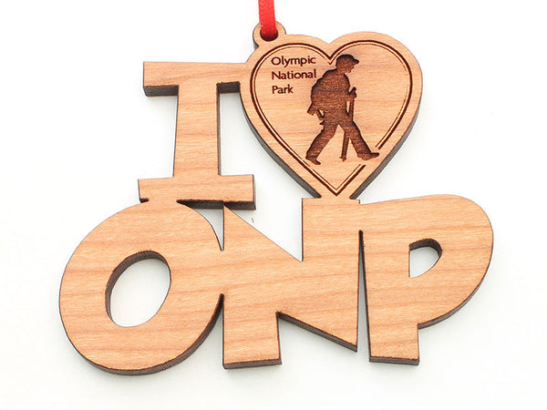 Olympic National Park I Heart ONP Hiker Ornament