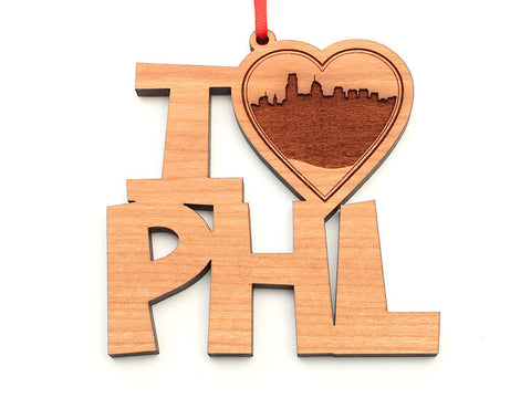 Philadelphia I Heart PHL City Skyline Ornament