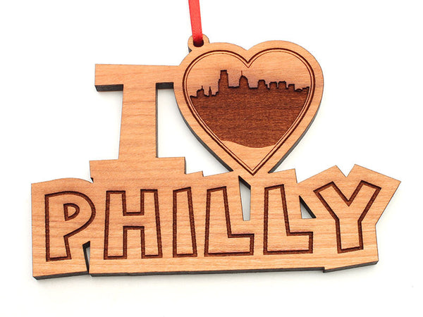 Philadelphia I Heart Philly City Skyline Ornament