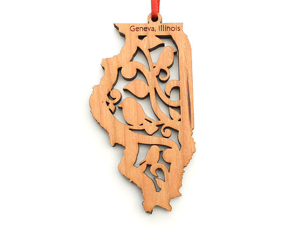 Northwestern Medicine Illinois State Ornament with Bird Insert - Nestled Pines