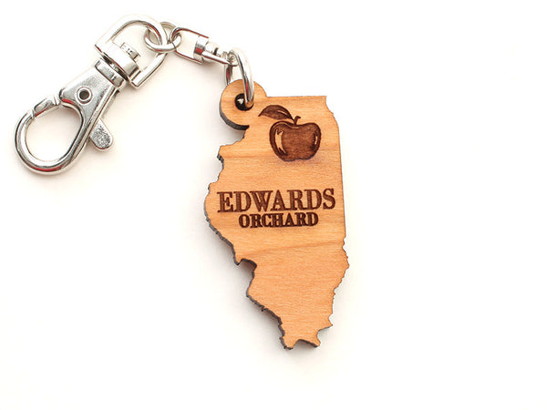 Edwards Orchard Illinois State Shape Key Chain - Nestled Pines