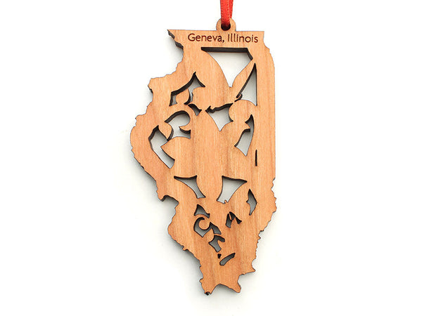Northwestern Medicine Illinois State Ornament with Butterfly Insert - Nestled Pines