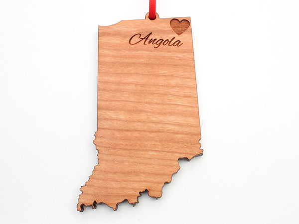 City of Angola Indiana State Shape Custom Ornament - Nestled Pines