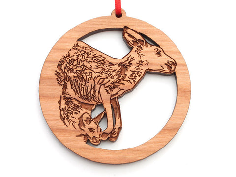 Kangaroo with Joey Circle Ornament