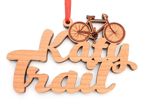 Katy Depot Bike Text Ornament Alt - Nestled Pines