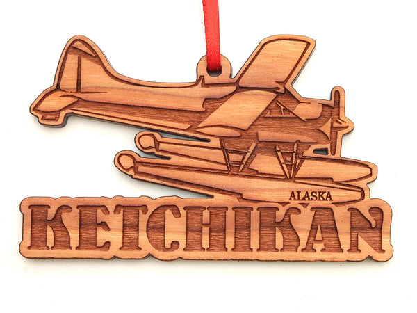 Ketchikan Alaska Float Plane Text Ornament