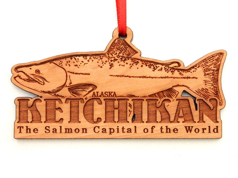 Ketchikan Alaska Salmon Capital Text Ornament