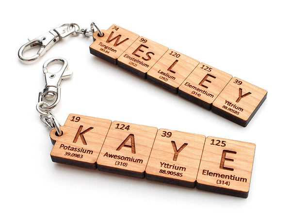 Custom Periodic Table of Elements Name Key Chain - Nestled Pines - 1
