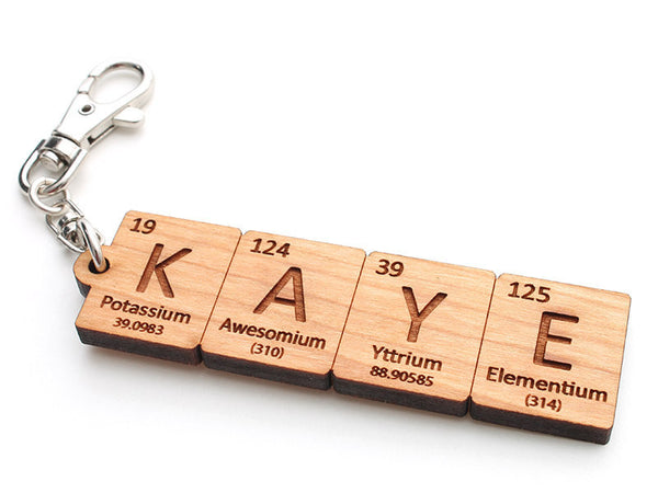 Custom Periodic Table of Elements Name Key Chain - Nestled Pines - 3
