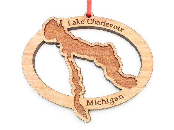 Lake Charlevoix Michigan Oval Ornament - Nestled Pines