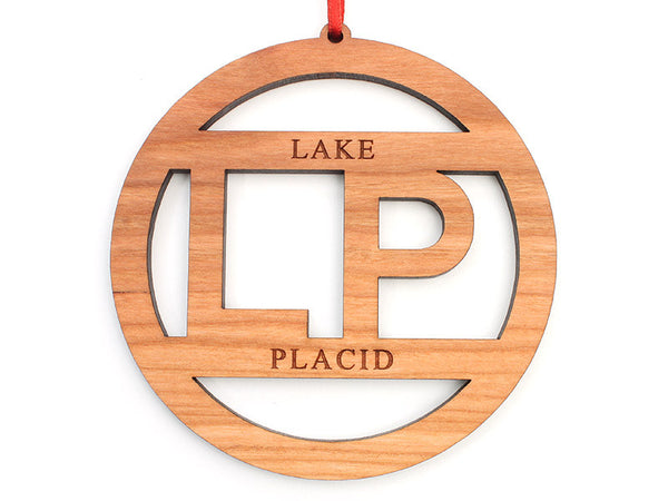 Lake Placid LP Text Circle Ornament - Nestled Pines