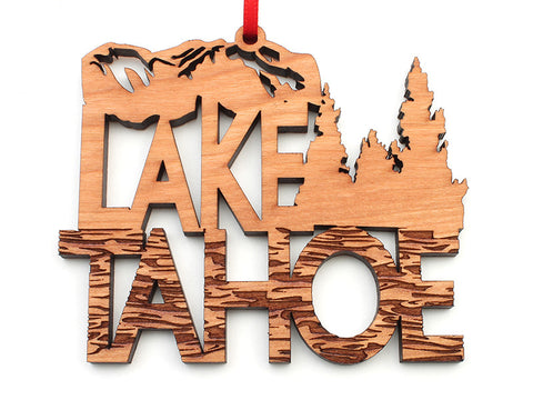 Zephyr Cove Lake Tahoe Text Ornament - Nestled Pines