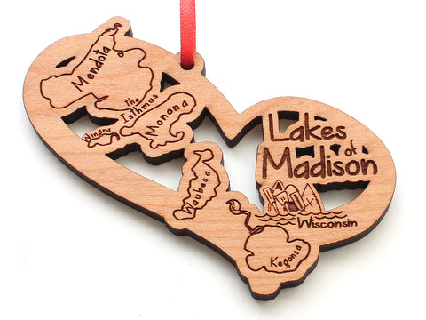 Lakes of Madison Wisconsin Monona Mendota Wingra Kegonsa Heart Ornament