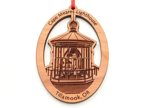 Cape Meares Lighthouse Lens Oval Custom Ornament