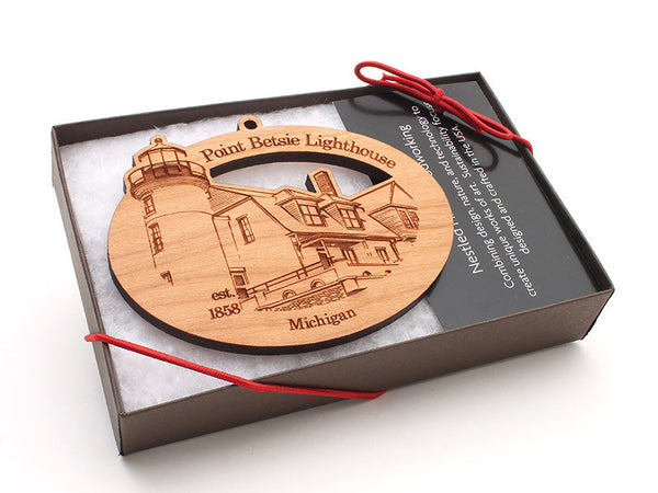 Point Betsie Lighthouse Oval Custom Ornament Boxed - Nestled Pines