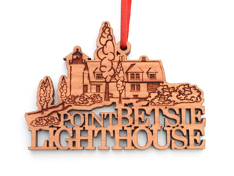 Point Betsie Lighthouse Custom Text Ornament - Nestled Pines