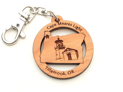 Cape Meares Oregon State Shape Lighthouse Insert Key Chain