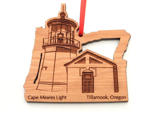 Cape Meares Oregon State Shape Lighthouse Insert Custom Ornament