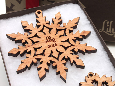 """Lily"" Customizable Snowflake Ornament Christmas Ornament - Nestled Pines - 1"