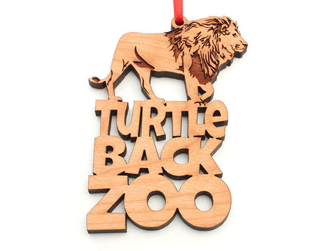 Turtle Back Zoo Lion Text Ornament