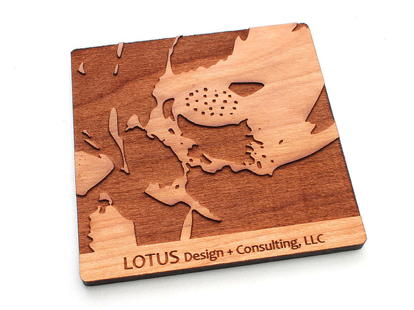Lotus Logo Coaster Alt 1 - Nestled Pines