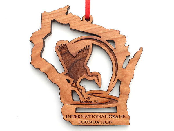 International Crane Foundation Wisconsin State Cut Out Logo Insert Ornament