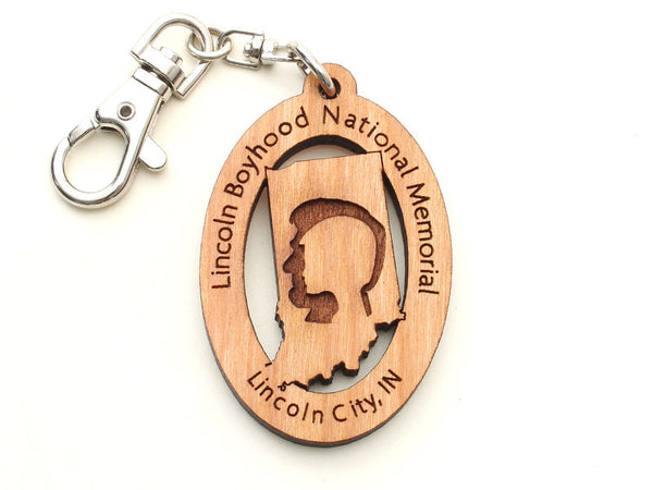 Lincoln Boyhood Indiana State Logo Key Chain