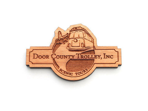 Door County Trolley Logo Magnet - Nestled Pines