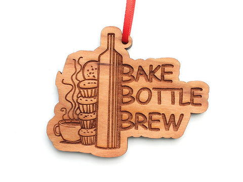 Bake Bottle Brew Logo Custom Ornament - Nestled Pines