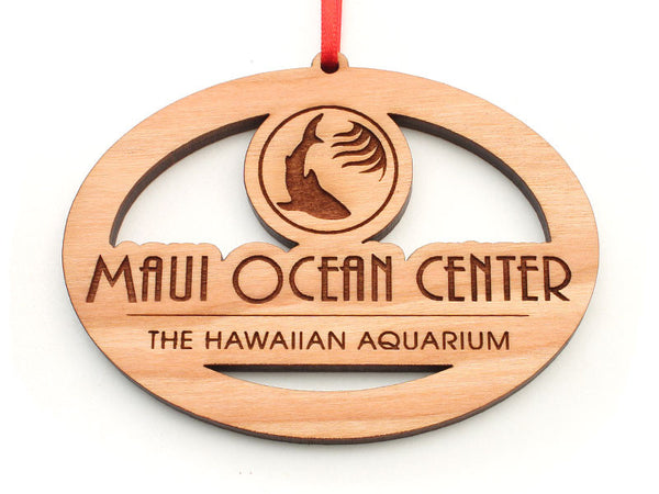 Maui Ocean Center Logo Custom Oval Ornament