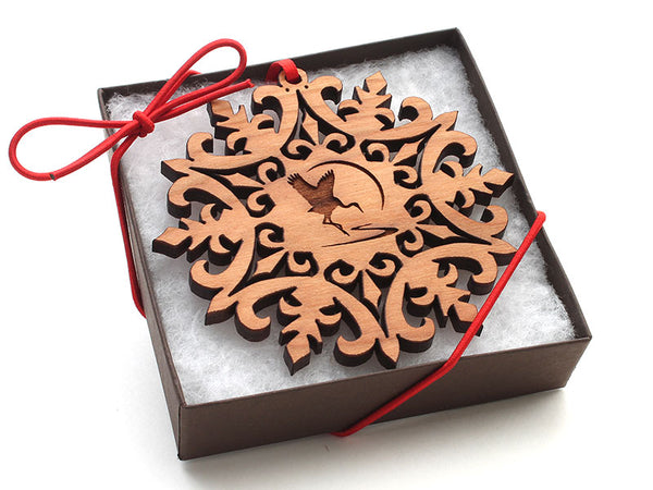 International Crane Foundation Logo Snowflake Ornament Gift Box