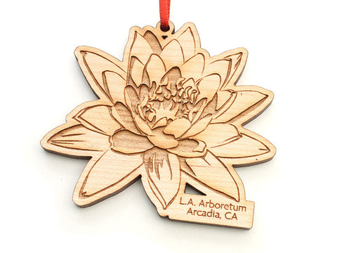 L. A. Arboretum Lotus Flower Custom Engraved Ornament - Nestled Pines