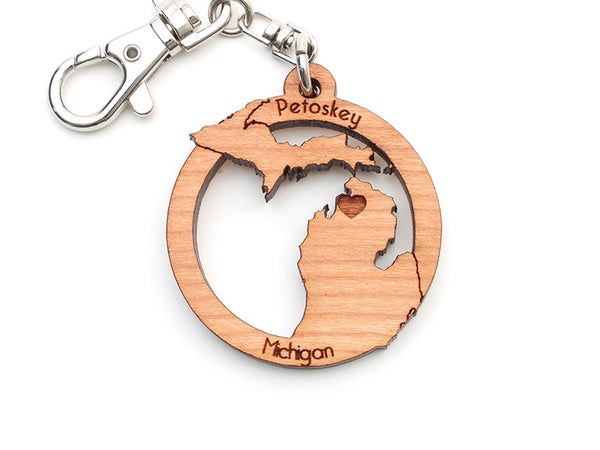 Ciao Bella Petoskey Michigan State Shape Custom Wood Key Chain - Nestled Pines