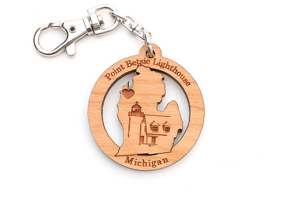 Point Betsie Lighthouse Michigan State Key Chain - Nestled Pines