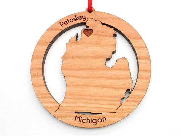 Ciao Bella Petoskey Michigan State Shape Custom Wood Ornament - Nestled Pines