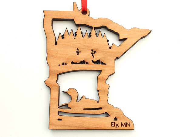 Mealey's Custom Loon Insert Minnesota Ornament - Nestled Pines