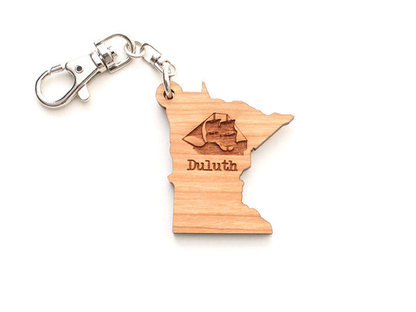 Duluth Sailboat Minnesota State Key Chain Engraved - Nestled Pines