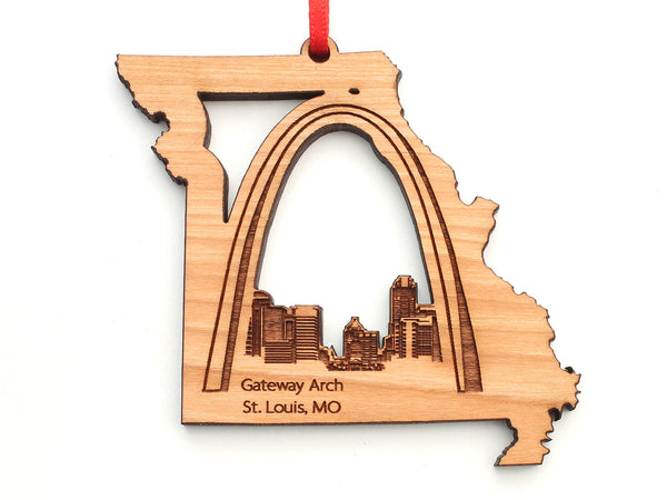 Saint Louis Missouri State Shape Ornament with Detailed City Skyline Engraving and St. Louis Arch