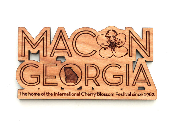 Macon Georgia Cherry Blossom Text Magnet